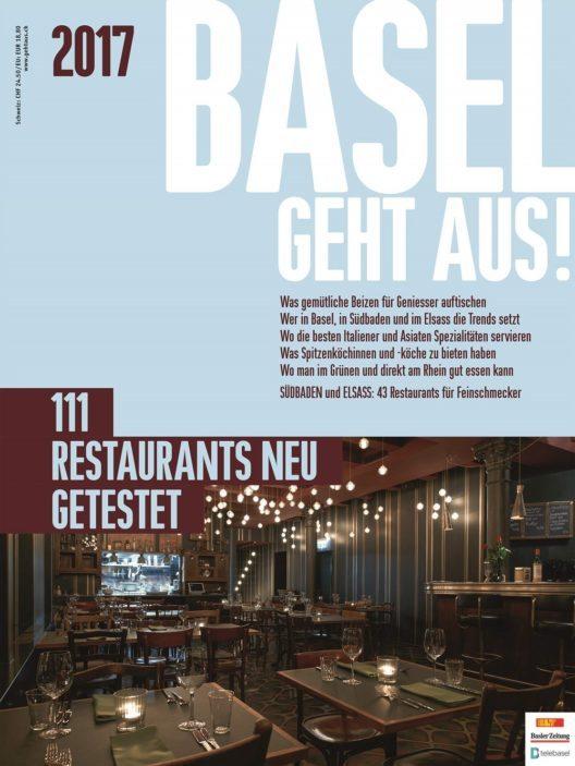 Das neue BASEL GEHT AUS! 2017 ist da. Mit den 111 besten Restaurants. Neu getestet und auf 158 Seiten beschrieben und bewertet. (Bild: © obs/BASEL GEHT AUS!)