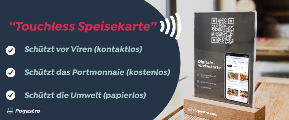 Die Touchless Speisekarte hilft in Corona-Zeiten. (Bild: obs/Pogastro.com/Thomas Holenstein)